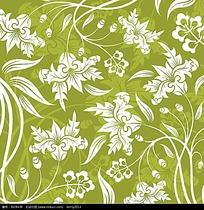 绿色系花朵藤蔓矢量背景