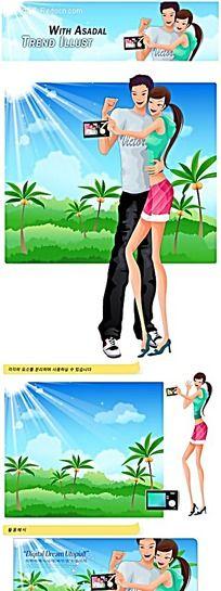 拍照的情侣卡通人物插画