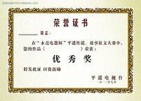 优秀奖荣誉证书模板