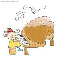 弹钢琴的小女孩简笔画韩国人物插画
