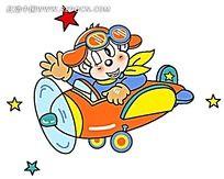 开飞机的拟人可爱猴子时尚人物插画