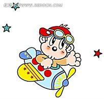 开飞机的小猴子时尚人物插画