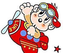 开着红色飞机的小猴子时尚人物插画