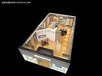 木地板展厅平面效果图max