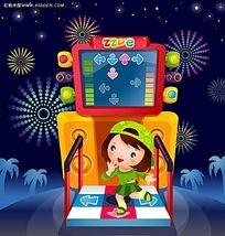 玩跳舞机的小女孩卡通人物漫画