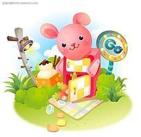 粉红色小兔子房子时尚物品插画