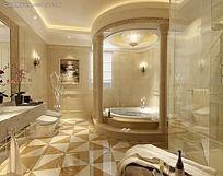 罗马柱浴室卫生间装修效果图max