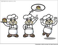 拿着蛋糕的厨师韩国人物漫画