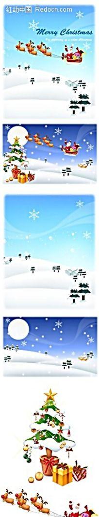 骑着雪橇车的圣诞老人韩国插画