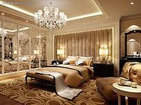 现代欧式风格双人卧室效果图max