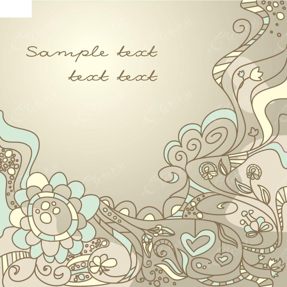 抽象手绘线条花纹花丛设计矢量图eps