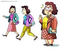 韩国水彩画尴尬的妇女卡通人物漫画