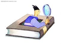 韩国水彩画拿着放大镜的男生卡通人物漫画