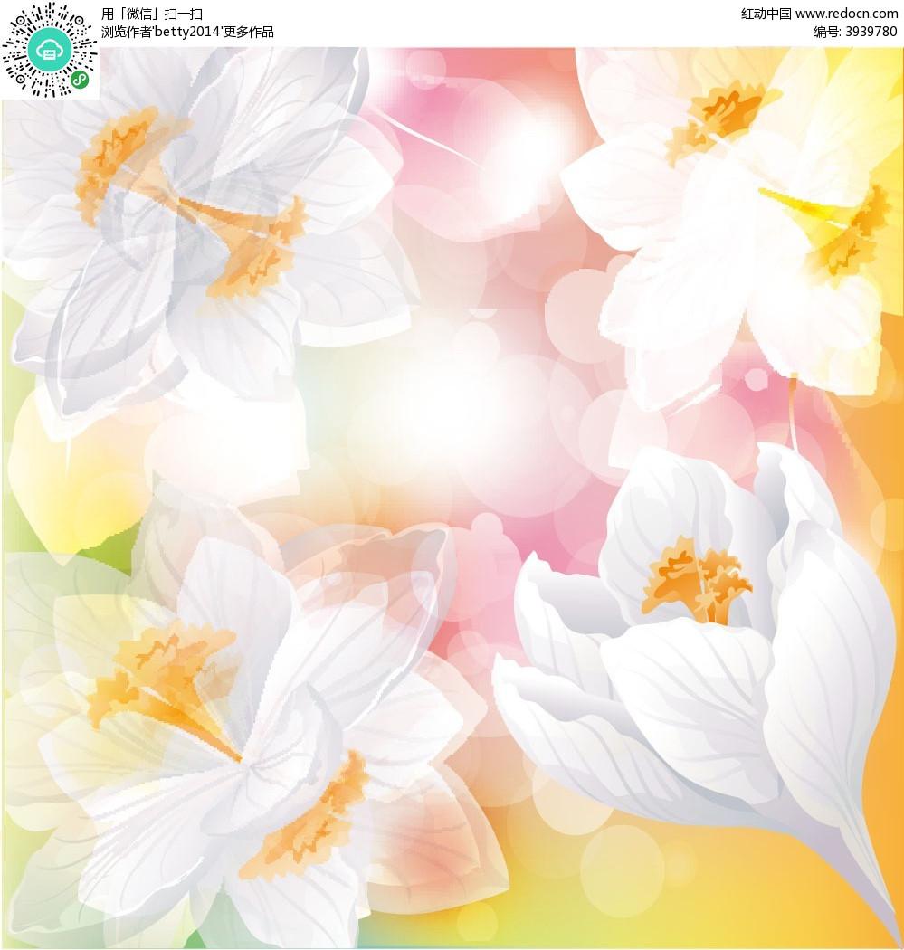 浪漫白色手绘线条花朵圆点组合矢量图eps