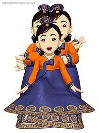 韩国3D古代女性角色插画
