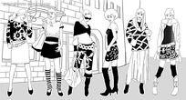 黑白女性时尚服装线稿韩国插画