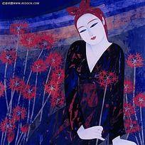 手绘涂鸦红唇花朵女孩卡通人物漫画