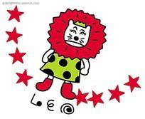 手绘涂鸦十二星座狮子座卡通人物漫画