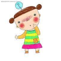 手绘有疑问的小女孩时尚漫画