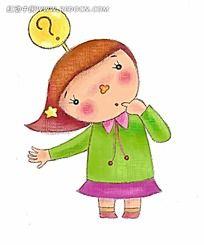 手绘有疑问的小女孩时尚人物漫画
