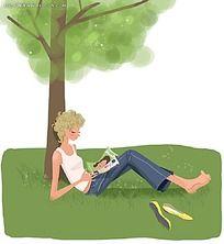 坐在树下看书的女孩子韩国插画