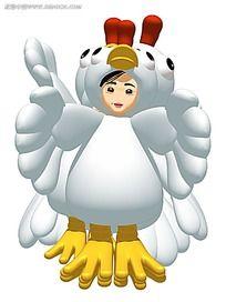 3d小鸡人偶人物插画