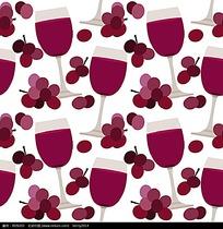 杯子和葡萄底纹矢量素材