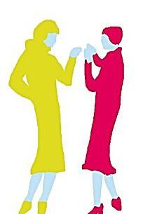 对话的色块涂鸦女孩时尚人物插画
