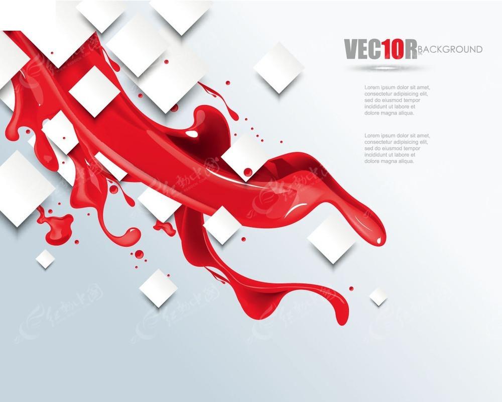 方形和红色液体矢量素材EPS免费下载 编号3926658 红动网