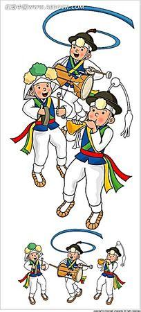 韩国古代演奏小人时尚人物插画