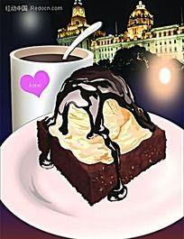 面包雪糕咖啡简约时尚插画