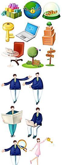 时钟上的西装男卡通人物插画