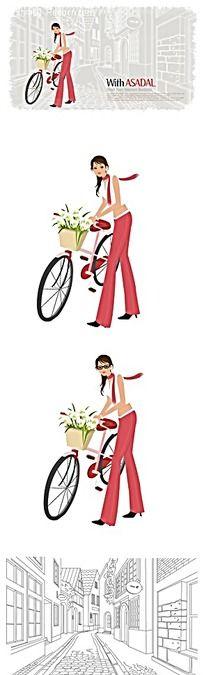 矢量卡通插画-骑自行车的情侣