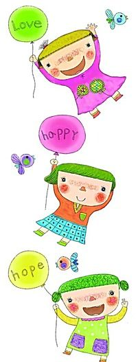 手绘水彩拿着气球的小孩子插画