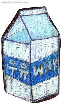 水彩牛奶盒简约时尚插画