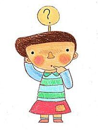 有疑问的小女孩卡通插画