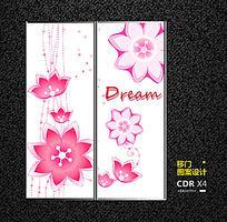粉色花纹移门图案设计