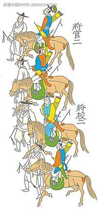韩国古代骑马的将军简约时尚插画