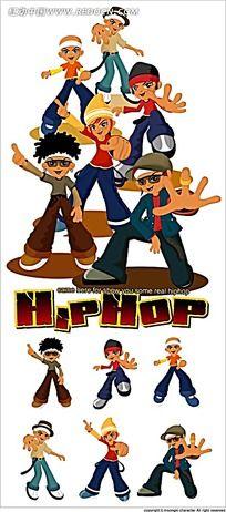 嘻哈小人卡通人物插画