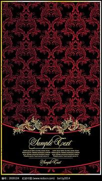 古典红色重复花纹矢量背景素材eps