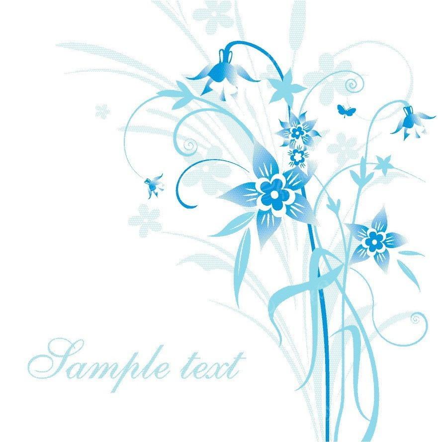 淡雅蓝色花草图案矢量背景图片