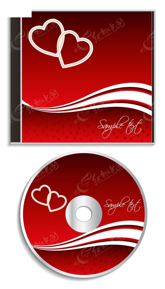 红色爱心动感曲线光盘封面设计图片