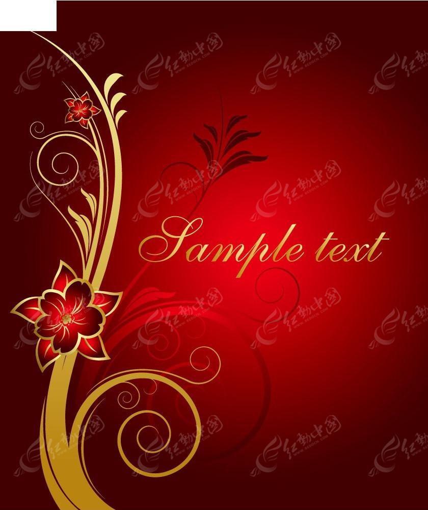 红色花朵典雅背景商业背景素材