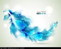 蓝色梦幻荧光树叶背景矢量素材