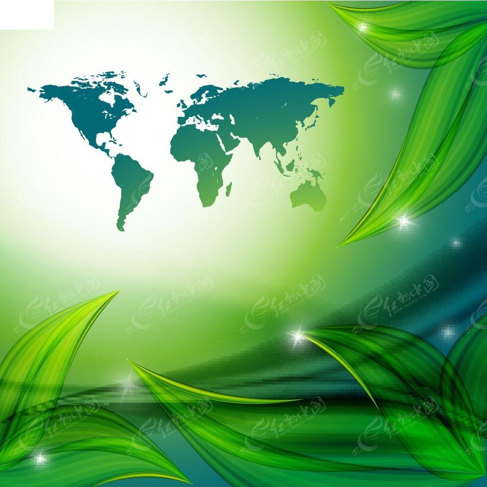 绿色树叶地球商业背景素材