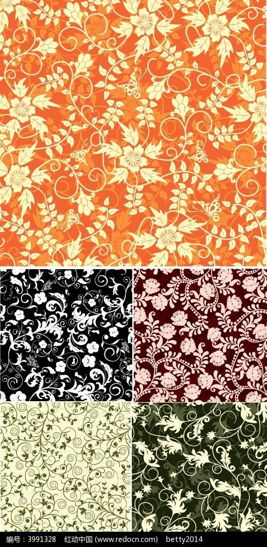 免费素材 矢量素材 花纹边框 底纹背景 欧式植物花纹背景  请您分享