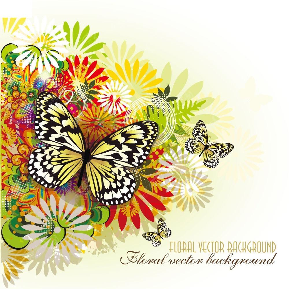 手绘蝴蝶背景 超炫背景 动感花边 花纹素材 梦幻背景色块 时尚背景
