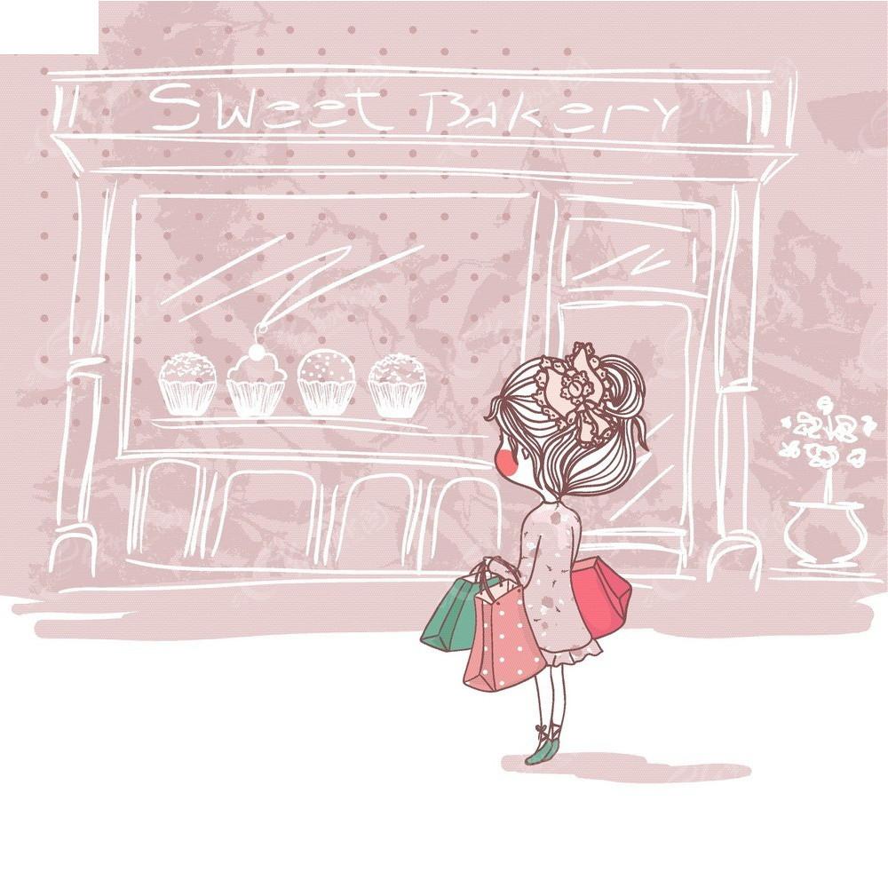 手绘可爱小女孩去购物商业矢量背景