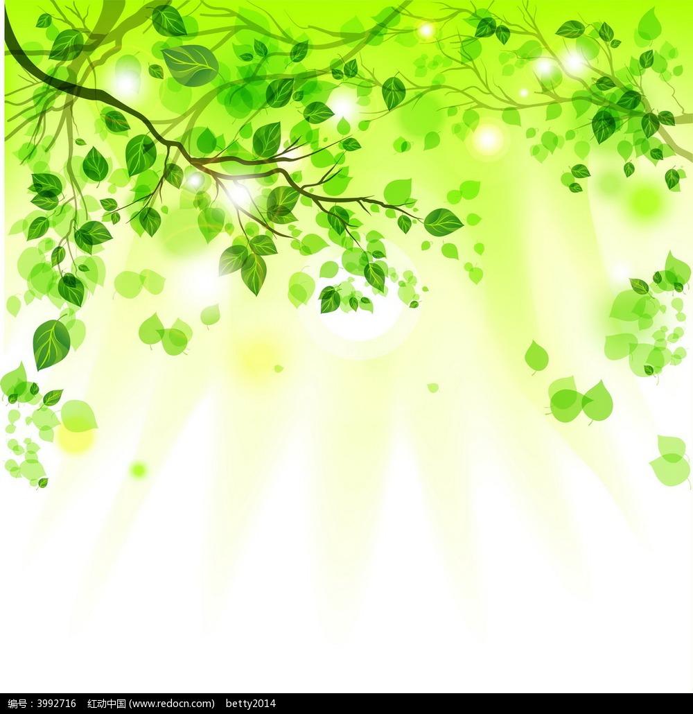 手绘绿色植物阳光矢量素材