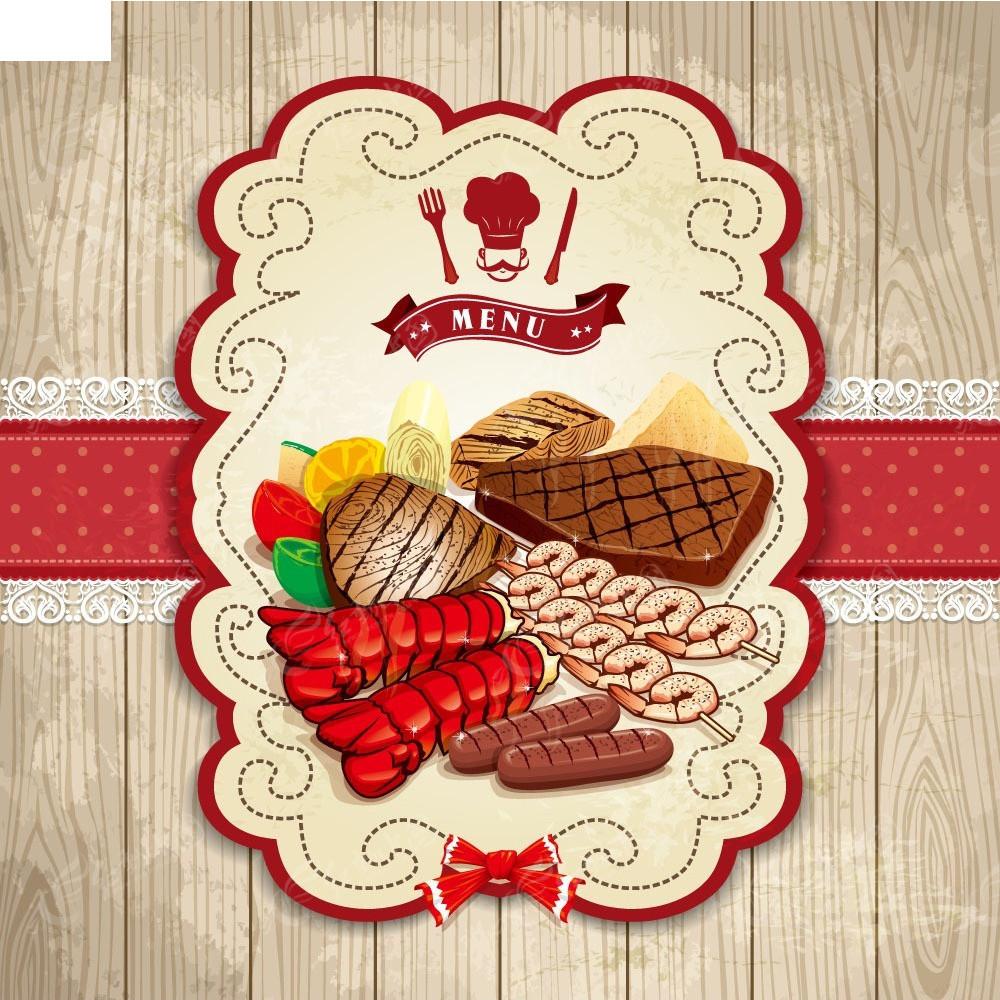 手绘食物牛排龙虾背景素材